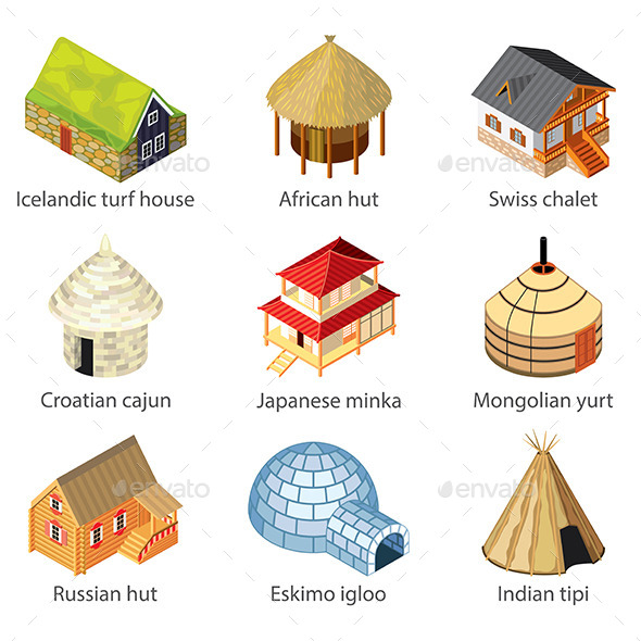 GraphicRiver Houses of Different Nations Icons 9012171