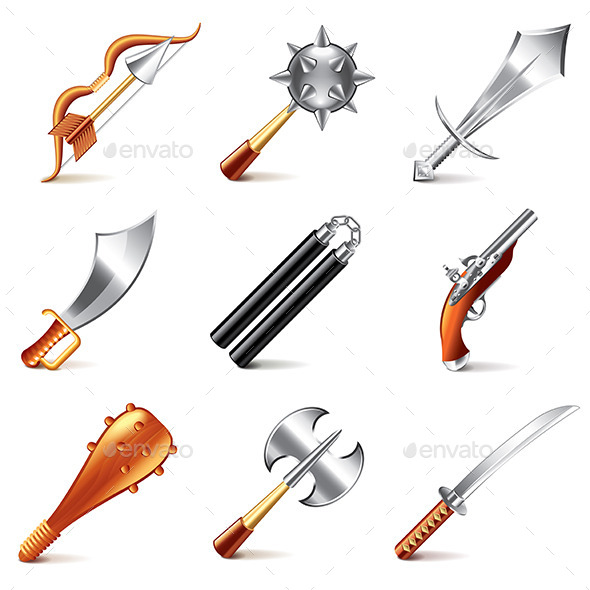 GraphicRiver Old Weapons for Games Icons 9012172