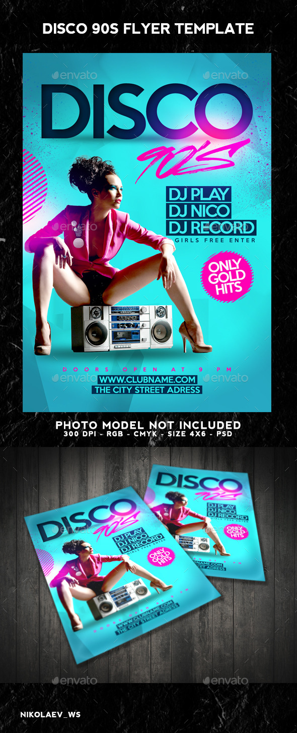 GraphicRiver Disco 90s Flyer 8988654