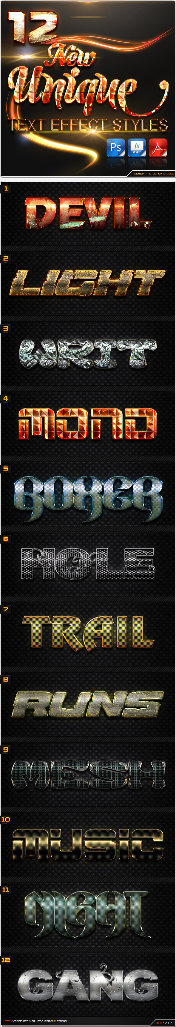 12 New Unique Text Effect Styles