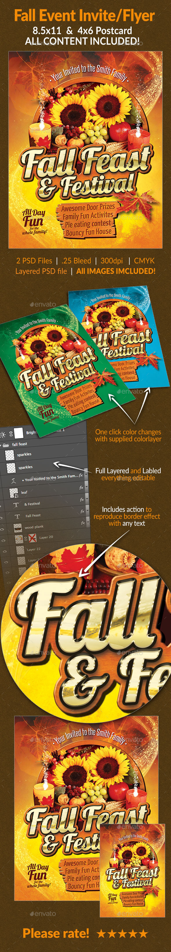 GraphicRiver Fall Feast Invite Flyer Set 8996820