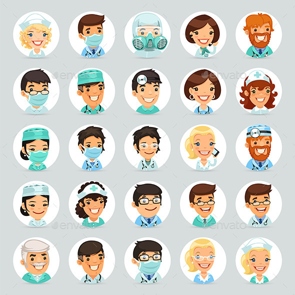 GraphicRiver Doctors Cartoon Characters Icons Set 9012738