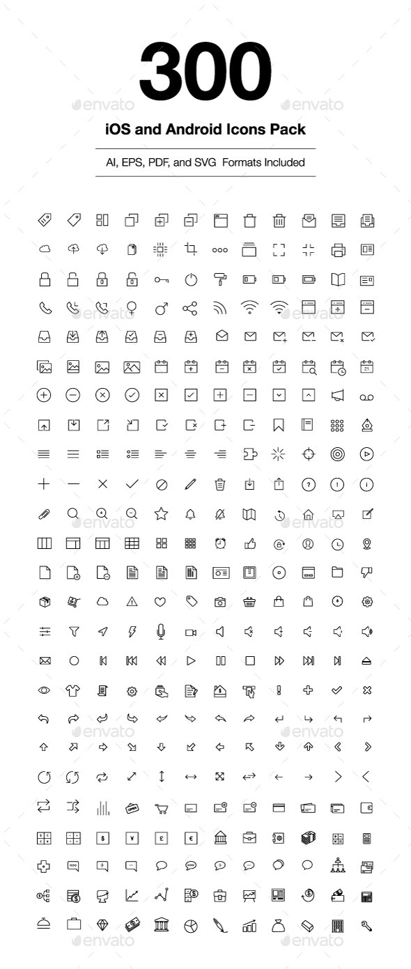 GraphicRiver 300 iOS and Android Vector Icons 9013430