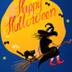 Card of Halloween Night - Witch and Black Cat  - GraphicRiver Item for Sale