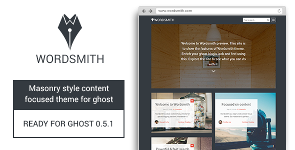 ThemeForest Wordsmith Masonry Style Ghost Theme 9013728