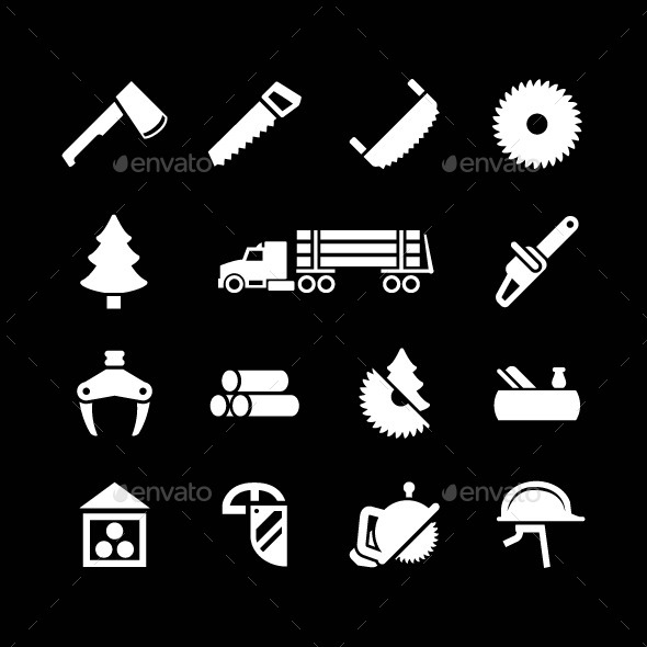 GraphicRiver Set Icons of Sawmill Timber and Lumber 9013796