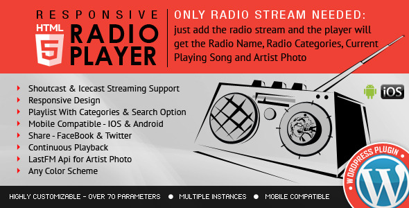 CodeCanyon Radio Player Shoutcast & Icecast WordPress Plugin 9013963