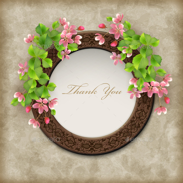 GraphicRiver Vector Floral Thank you Card 9014038