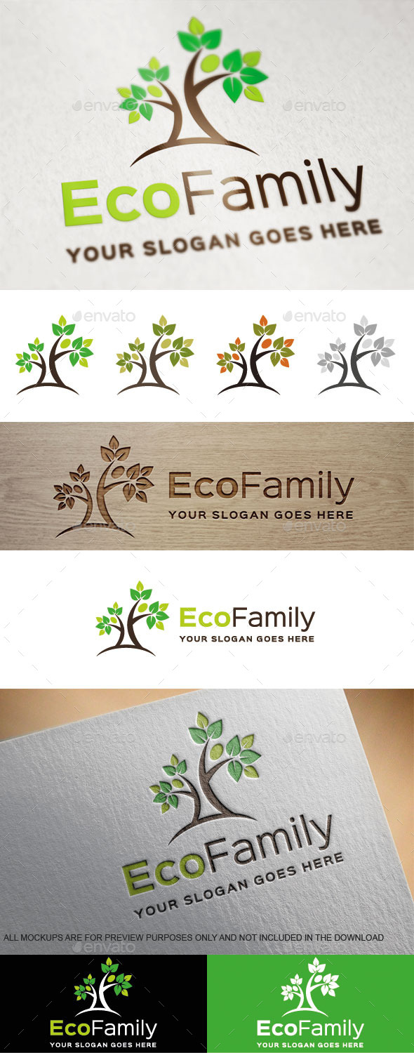 GraphicRiver Eco Family Logo Template 9014084