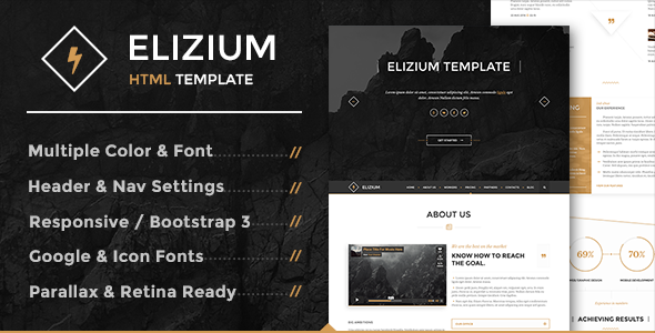 Elizium - One Page Parallax with Blog Pages