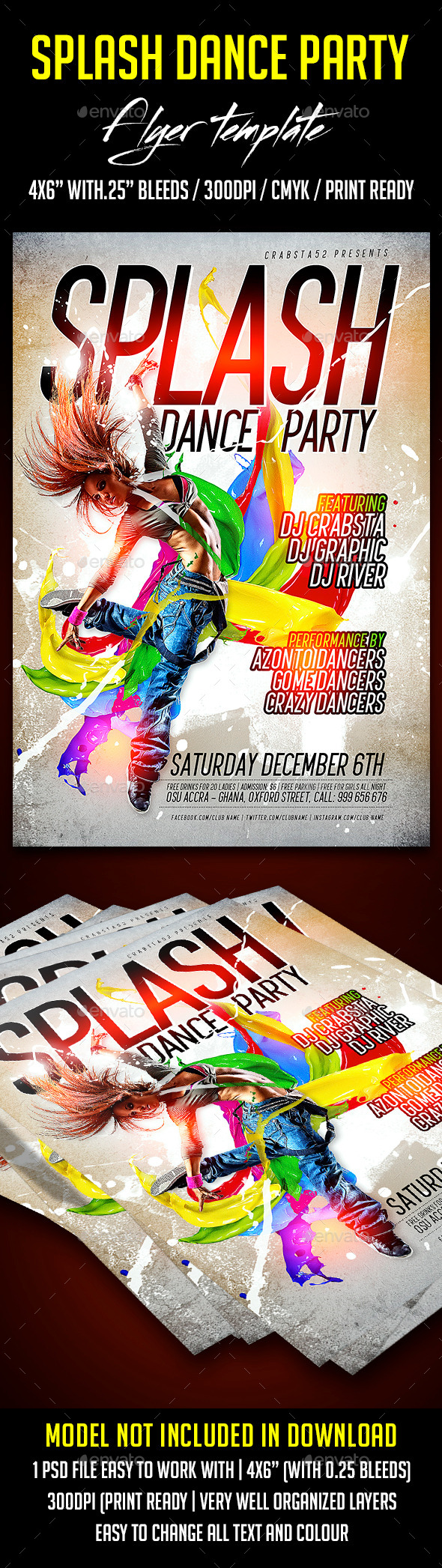 GraphicRiver Splash Dance Party Flyer Template 9014398