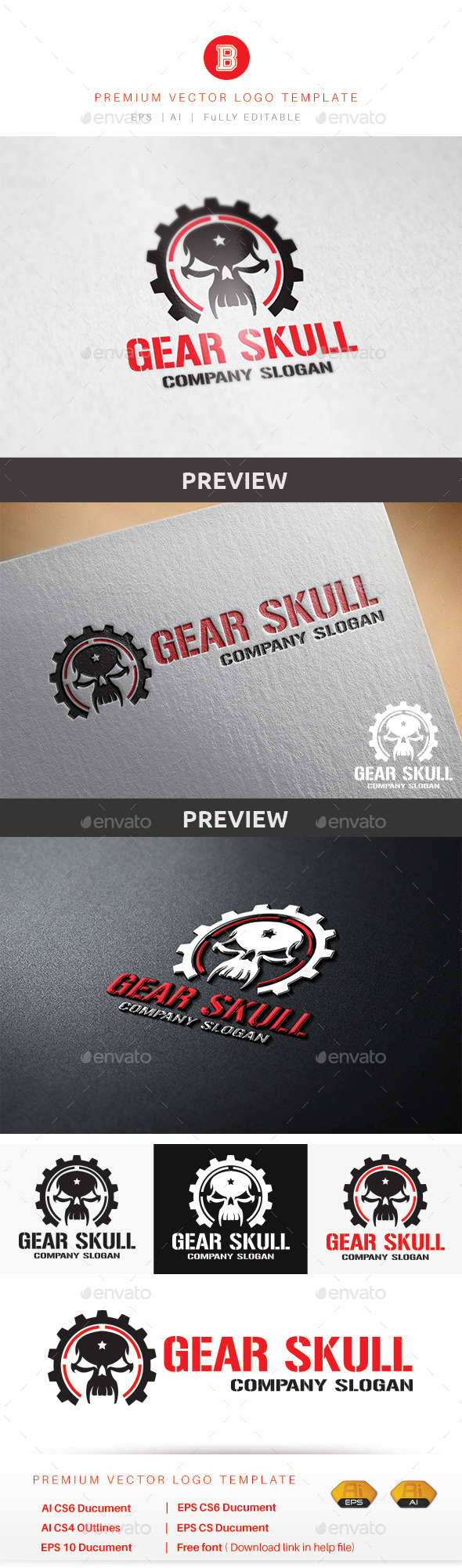 GraphicRiver Gear Skull 9014490