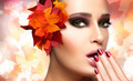 Autumn Makeup and Nail Art Trend. Fall Beauty Fashion Girl - PhotoDune Item for Sale
