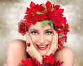 Happy Christmas Girl. Beautiful Woman in red. Holiday Hairstyle - PhotoDune Item for Sale