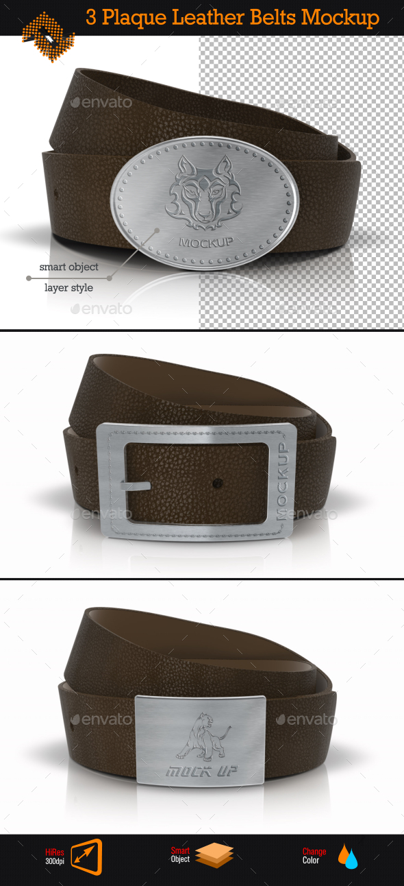 GraphicRiver Plaque Leather Belts Buckle Logo Mockup 9014779