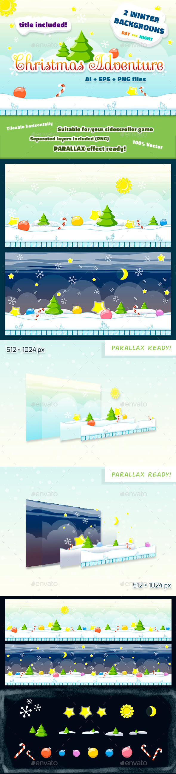 GraphicRiver Christmas Backgrounds Set Day and Night 9014964