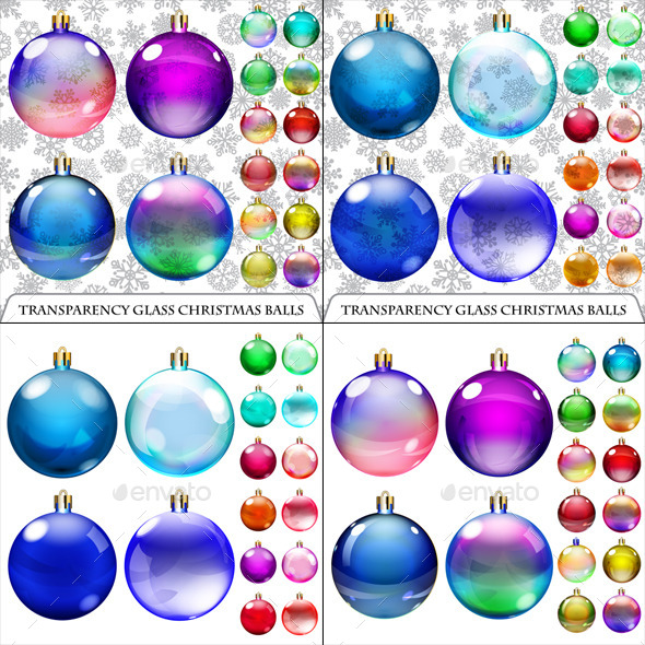 Sets of Transparent and Opaque Christmas Balls