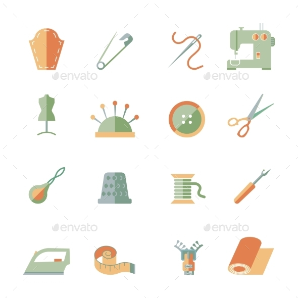 GraphicRiver Sewing Equipment Icons Set 9015000
