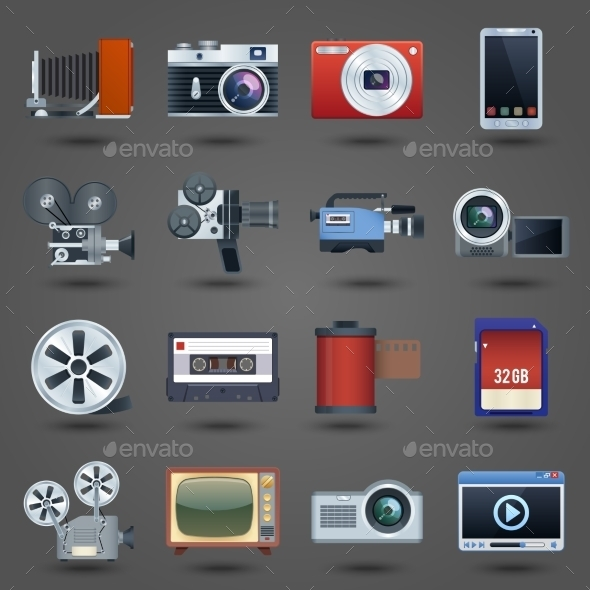 GraphicRiver Photo Video Icons Set 9015016
