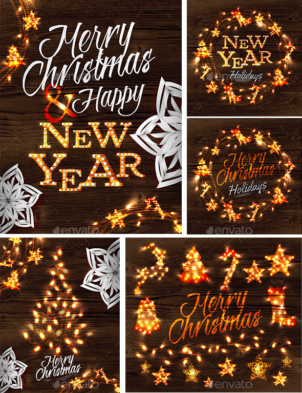 GraphicRiver Set of Merry Cristmas and Happy New Year Posters 9015417