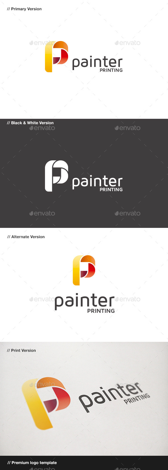 GraphicRiver Painter P Letter Logo 9015474