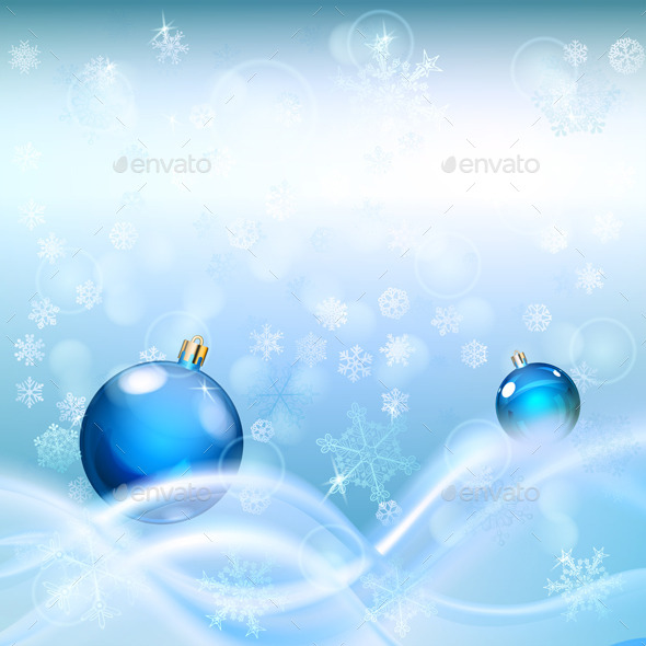 GraphicRiver Background with Waves and Christmas Balls 9015487
