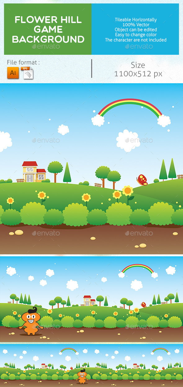 GraphicRiver Flower Hill Game Background 9016479