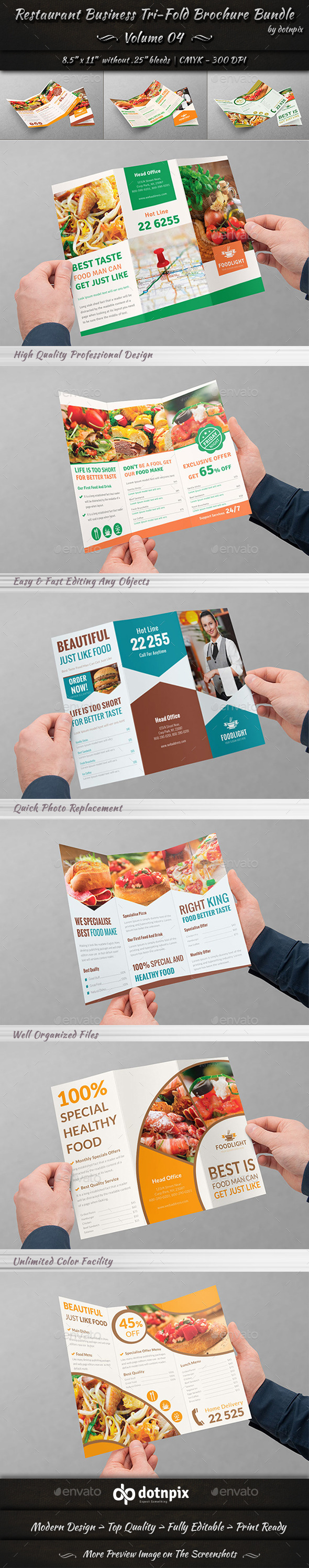 GraphicRiver Restaurant Tri-Fold Brochure Bundle Volume 4 9016884