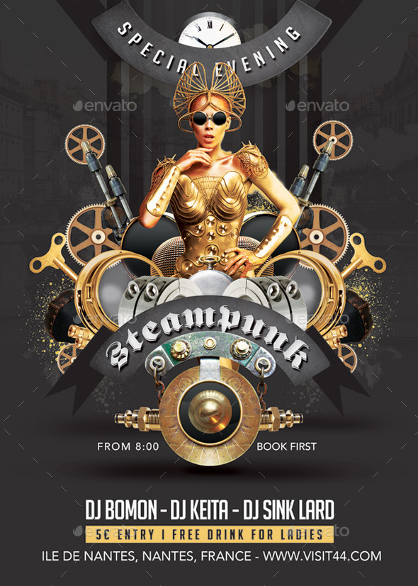 GraphicRiver Steampunk Modern Festival Special Party in Club 9017248