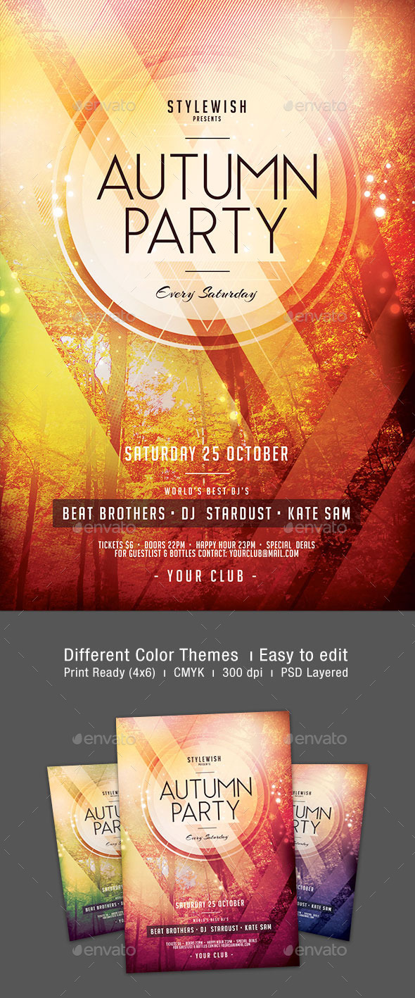 GraphicRiver Autumn Party Flyer 9017750