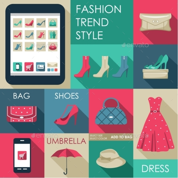 GraphicRiver Set of Flat Design Fashion Icon for Web 9018070