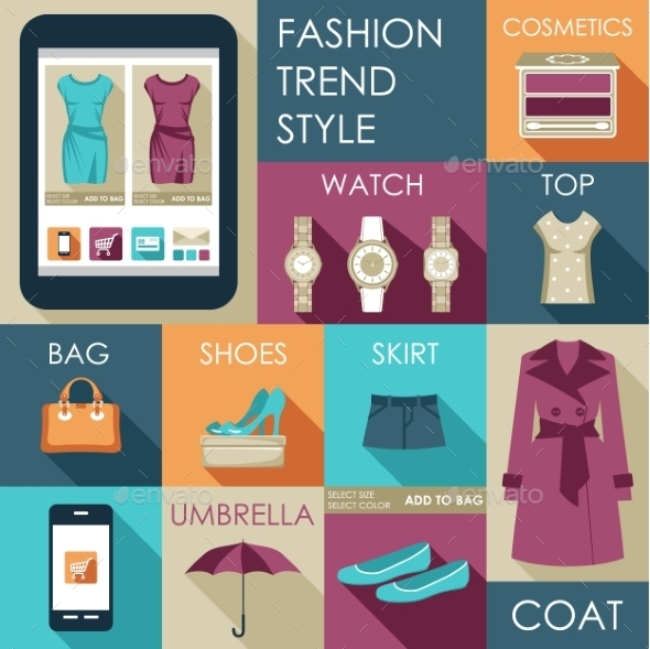 GraphicRiver Set of Flat Design Fashion Icon 9018073