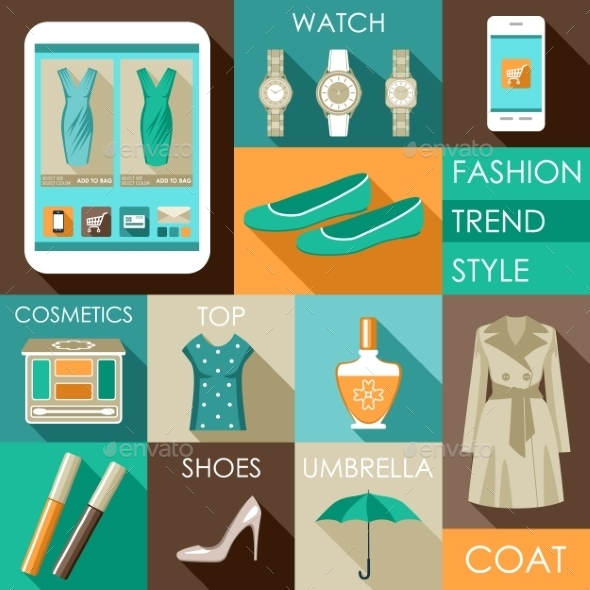 GraphicRiver Set of Flat Design Fashion Icon 9018075