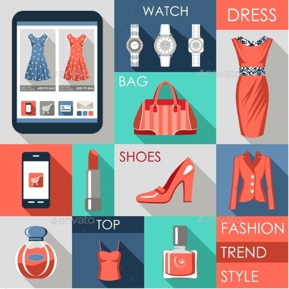 GraphicRiver Set of Flat Design Fashion Icon 9018116