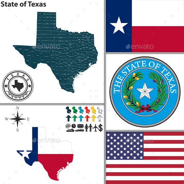 GraphicRiver Map of State Texas USA 9019316