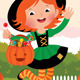 Girl in Witch Costume Celebrates Halloween - GraphicRiver Item for Sale