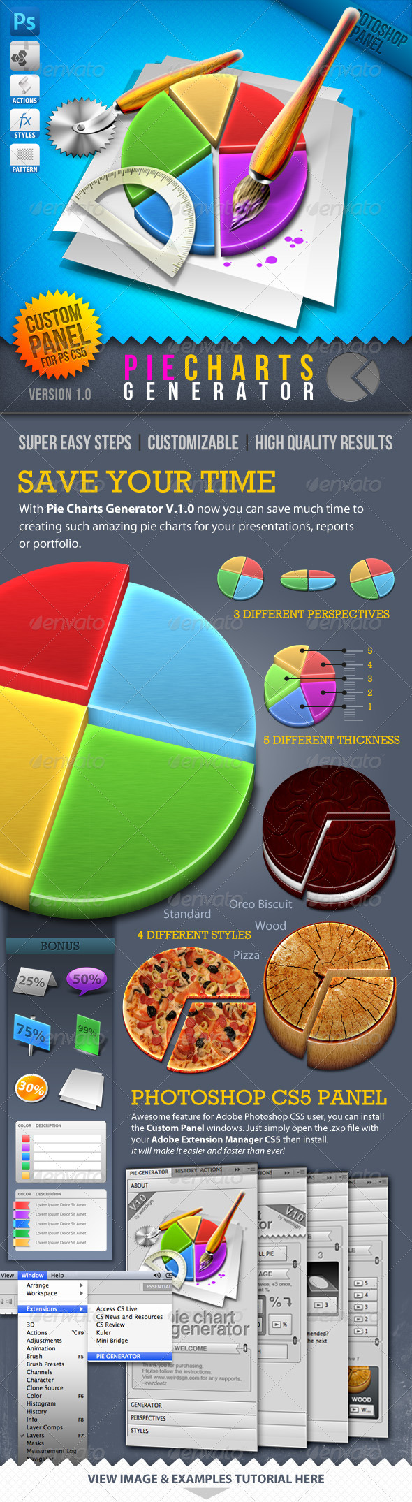 Infographic Tool Series: 3D Pie Charts Generator - Utilities Actions
