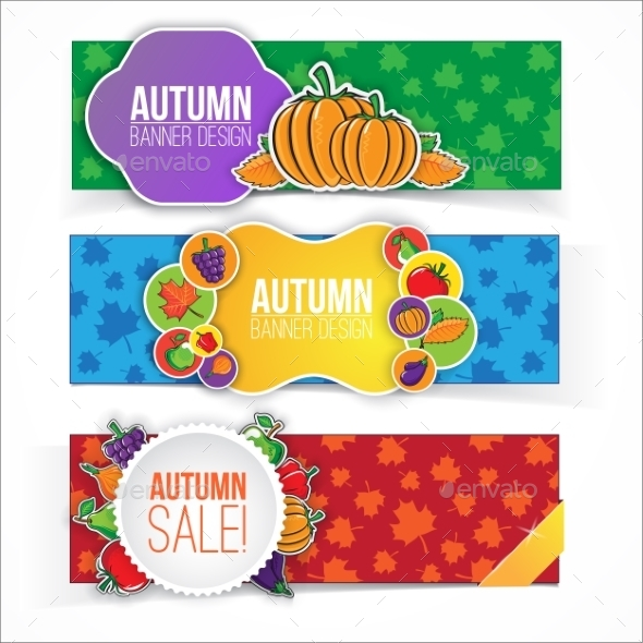 GraphicRiver Autumn Banner Set with Fruits and Vegetables 9020099