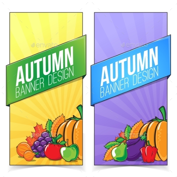 Autumn Banner Set with Fruits and Vegetables.