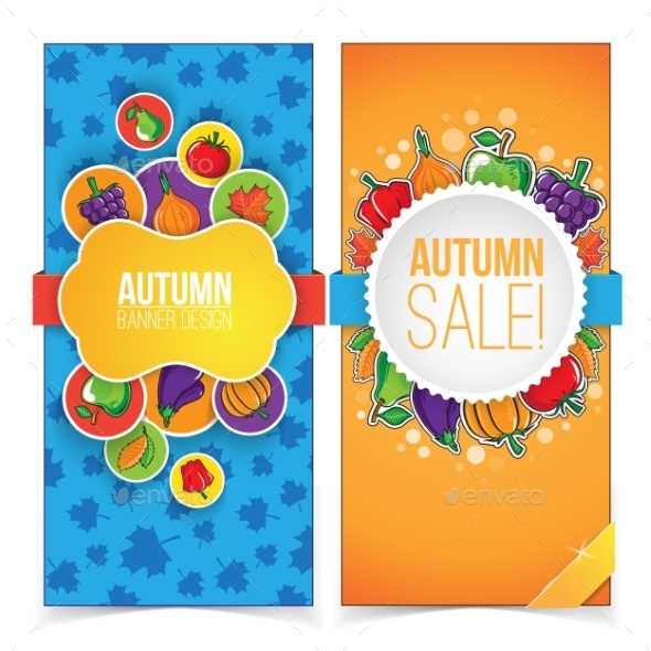 GraphicRiver Autumn Banner Set with Fruits and Vegetables 9020103
