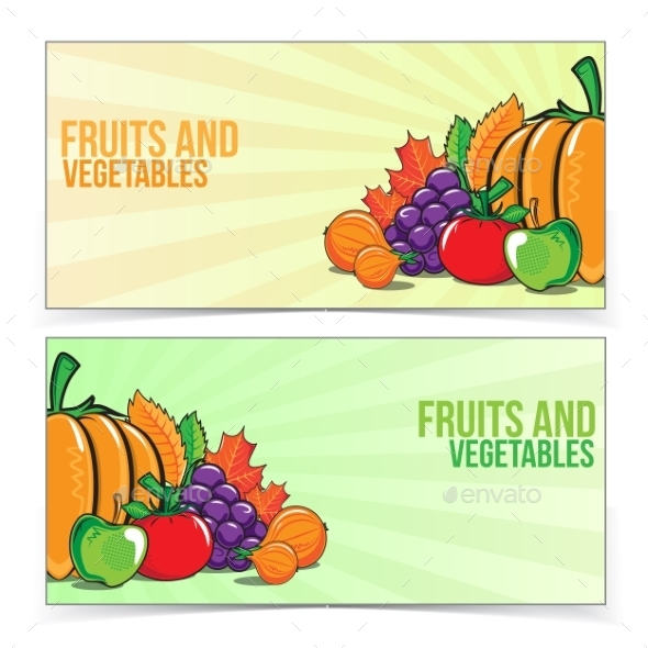 GraphicRiver Autumn Banner Set with Fruits and Vegetables 9020104