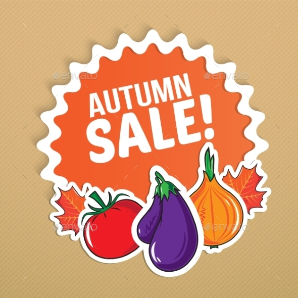 GraphicRiver Autumn Sticker with Vegetables 9020105