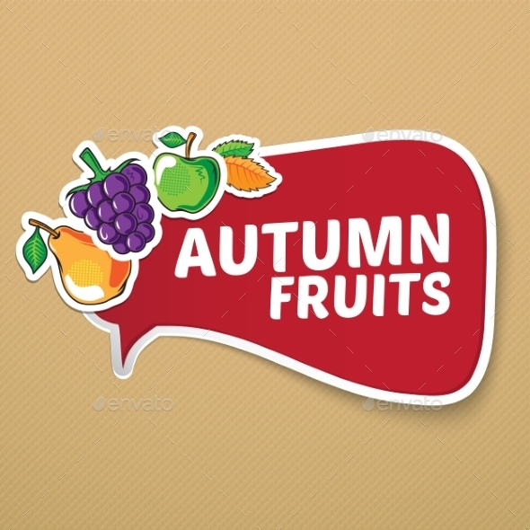 GraphicRiver Autumn Sticker with Fruits 9020107