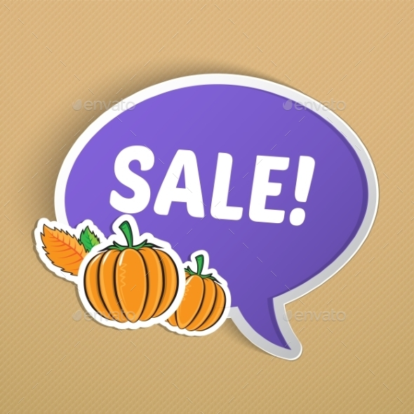 GraphicRiver Autumn Sticker with Pumpkins 9020109