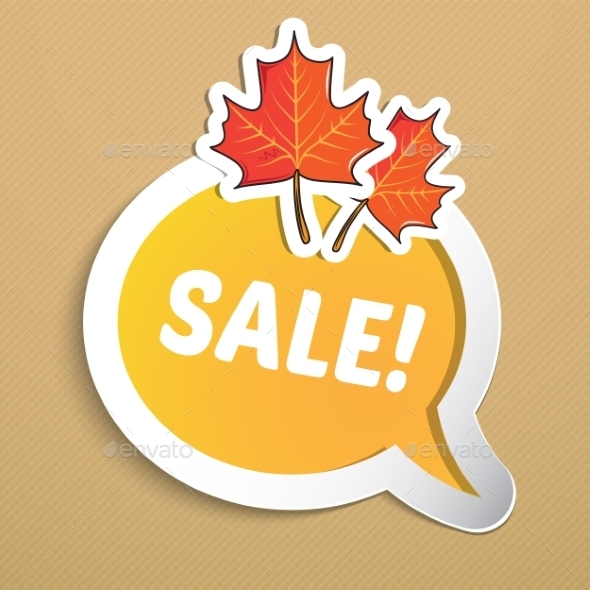 GraphicRiver Autumn Sticker with Leaves 9020112