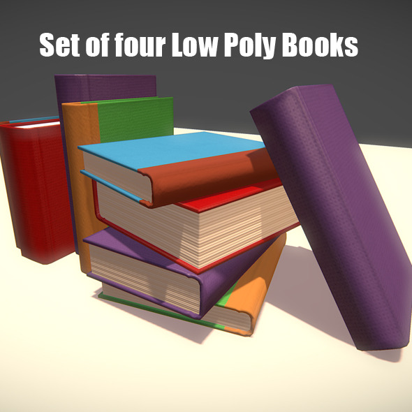 Set of Four Low Poly Books - 3DOcean Item for Sale