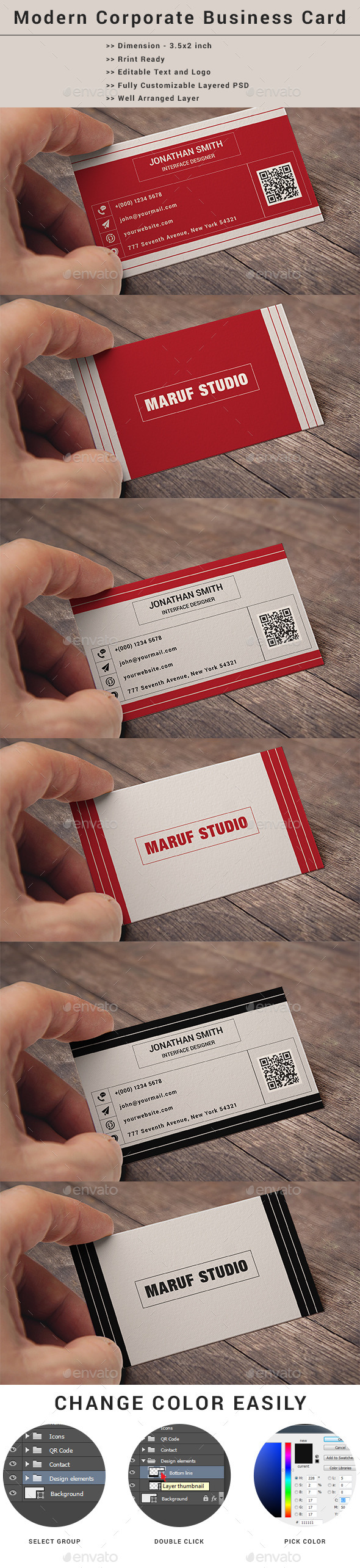 GraphicRiver Modern Corporate Business Card Template 9020792