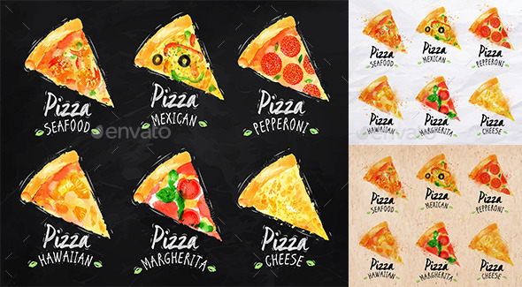 GraphicRiver Set of Pizza Posters 9020863
