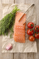 salmon fillet on brown kitchen papper - PhotoDune Item for Sale