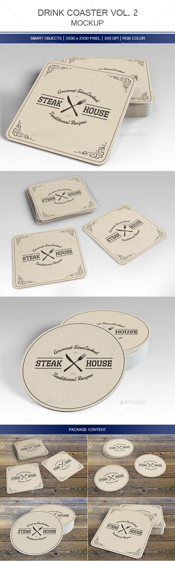GraphicRiver Drink Coaster Mock-Up Vol 2 9020902